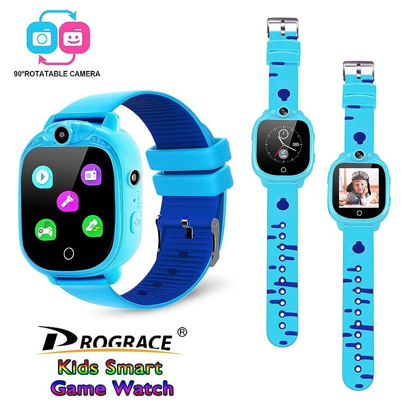 Prograce Kids Smartwatch with 90°Rotatable Camera Touchscreen Kids Watch Music Pedometer Flashlight Games FM Radio Kids Smart Watch Sports Watches Digital Wrist Watch for Boys