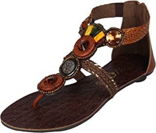 Catwalk Women's Crystal Studded Thong Sandals