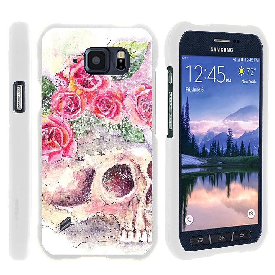 MINITURTLE Case Compatible w/ [Samsung Galaxy S6 Active Slim case, S6 Active case ][Snap Shell] Hard Plastic Slim White Snap on case w/ Unique Designs Flower Skull