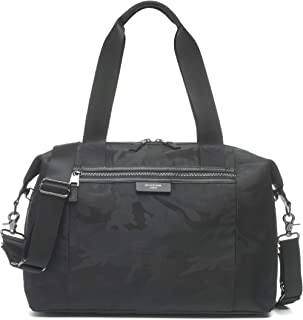 Stevie Luxe Camo Black Modern Style Baby Diaper Bag by Storksak | Water-Resistant, Large Capacity Multi-Functional Bag with Smooth Leather Trim and Gunmetal Hardware | Shoulder and Stroller Straps