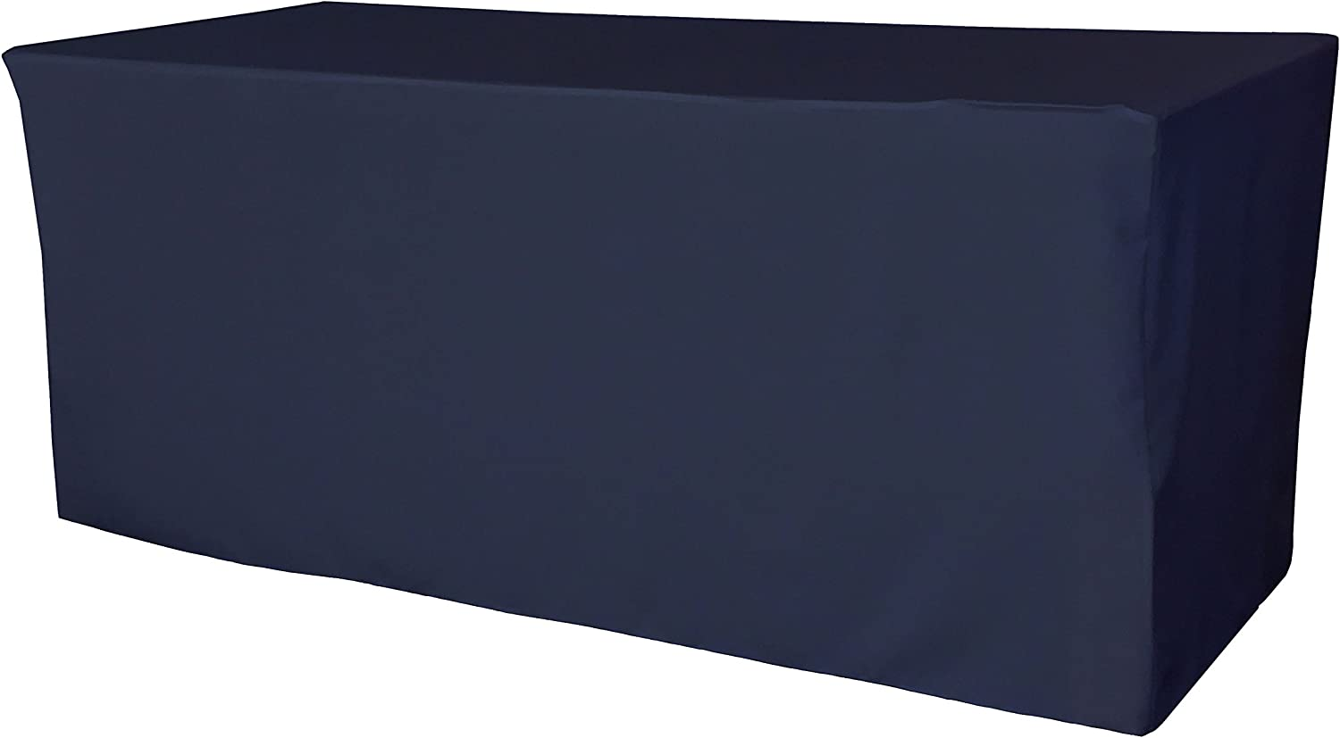 LA Linen Polyester Poplin Fitted Tablecloth 72 L x 24 W x 30 H, Navy bluee