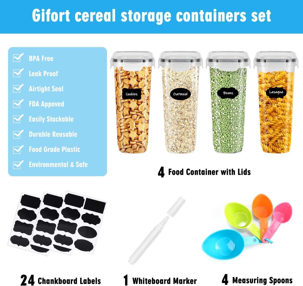 4PCS Gifort Contenitori Alimentari per Cereali Set Coperchio per Alimenti Set Cereali Perfetto per Cereali,Pasta Contenitori per Cereali Ermetici Senza BPA con Etichette e Cucchiai Cheerios
