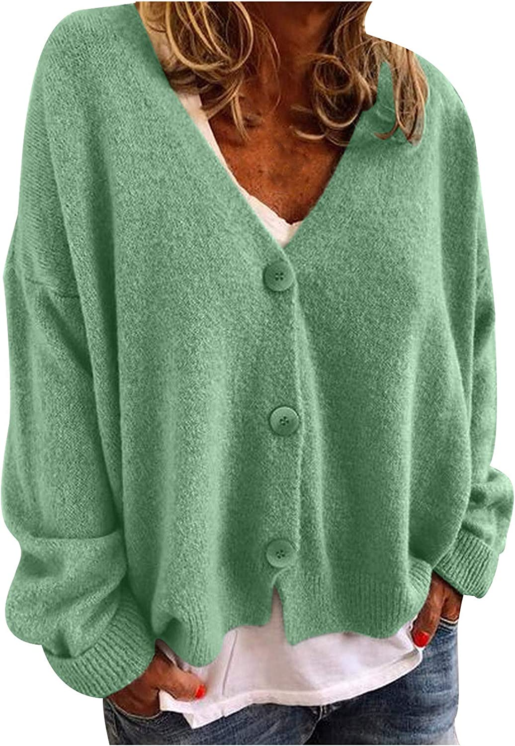 VEKDONE Womens Casual Long Sleeve Open Front Buttons Cable Knit Pocket Sweater Cardigan Jackets Plus Size