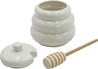 Royal Brands Ceramic Classic Honey Jar With Wooden Dipper Bee Hive Honey Dispenser And Storage White Jar