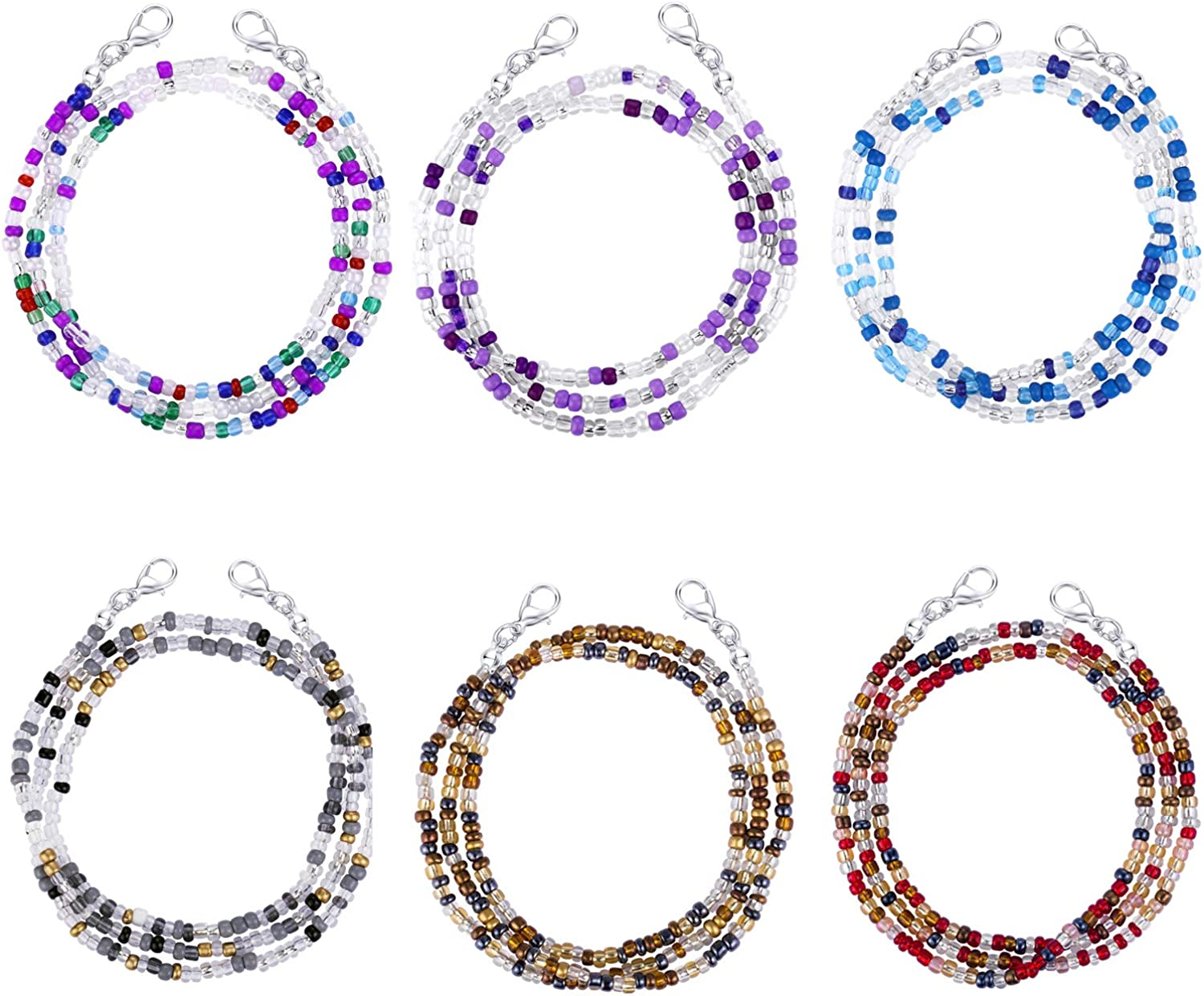 Annamate 6-9 Pack Eyeglass Chains Mask Holder Eyeglass Beaded Chains and Cords Suitable for Women Kids