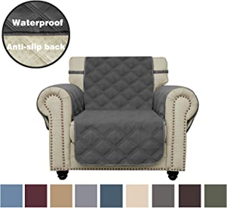 Sofa Cover Waterproof with Anti-Skip Dog Paw Print 100% Quilted Furniture Protector Sofa Slipcover for Children, Pets for Leather Couch (Dark Gray, Chair)