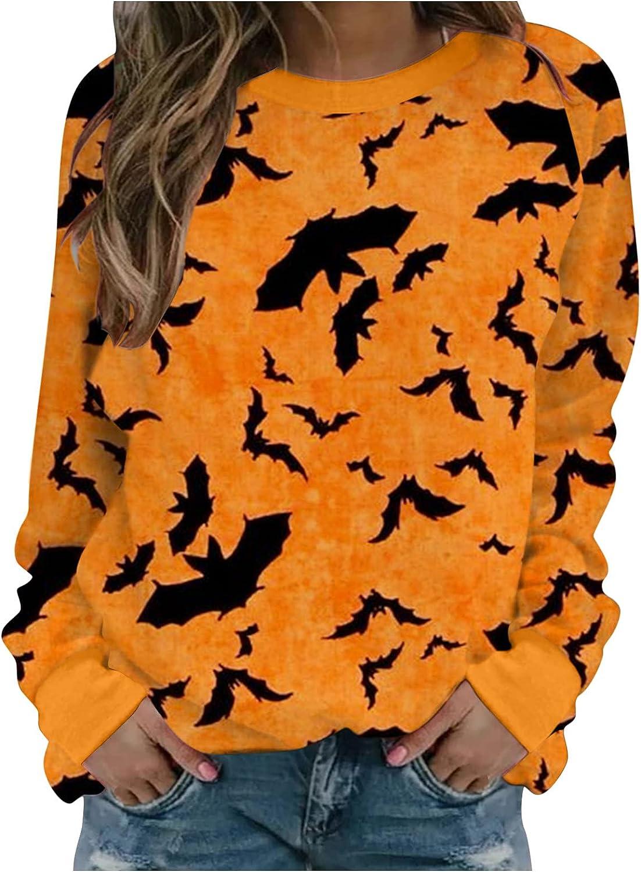 Zieglen Halloween Sweatshirt for Women Bat Cat Crewneck Vintage Plus Size Long Sleeve Casual Pullover Tops Shirts Sweaters