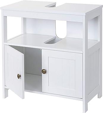 Meuble de Rangement sous-lavabo HWC-B63, Salle de Bain, sous-Vasque, 60x60x30 cm, Blanc