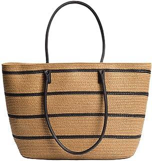 GSERA Strohstreifen Tasche Neue Stroh Einfache Handtasche Reise Urlaub Umhängetasche Frauentasche
