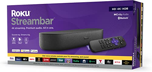 Roku Streambar | 4K/HD/HDR Streaming Media Player & Premium Audio All In One Includes Roku Voice Remote