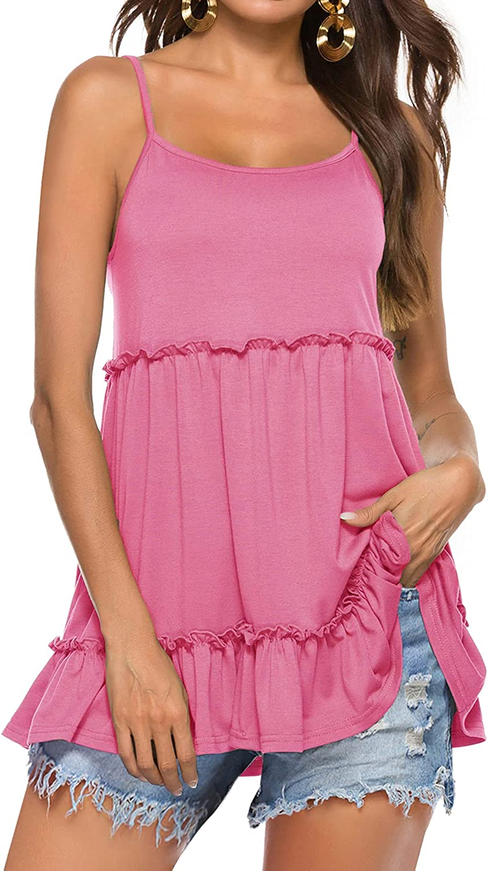 Sweetnight Women's Summer Tank Tops Loose Flowy Spaghetti Strap Ruffle Cami Shirt Tunic Tops