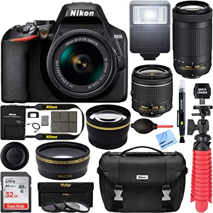 $439 Get Nikon D3500 24.2MP DSLR Camera with AF-P 18-55mm VR Lens & 70-300mm Dual Zoom Lens Kit 1588 (Renewed) with 16GB Accessory Bundle