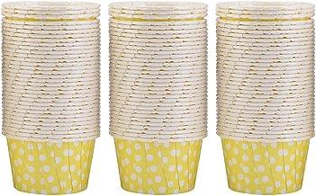 100PCS Cake Cup voor cupcake voor cupcake en muffin(Yellow wave point)