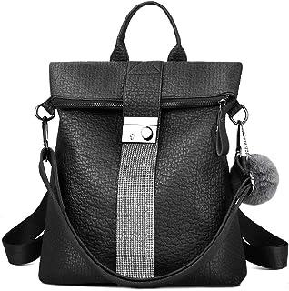 VBIGER Bolsos mochila mujer Antirrobo Mochila de Cuero PU Mano Mochilas Casual Bolsa Bandolera Messenger Bag Backpack (Negro)