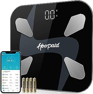 Hoepaid Corporal Báscula de Baño,Escala de Grasa Corporal Bluetooth,Báscula de Baño Digital,Escala Corporal Smart App,Puede Analizar 17 Indicadores de Salud como BMI, Grasa, Masa Muscular