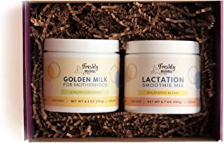 Freshly Moms Gift Box For New Moms - Organic Lactation Smoothie Mix & Golden Milk - Supports Postpartum Recovery & Healthy Breastfeeding - Boost Breast Milk Supply - Ayurvedic Powder Drink Supplement