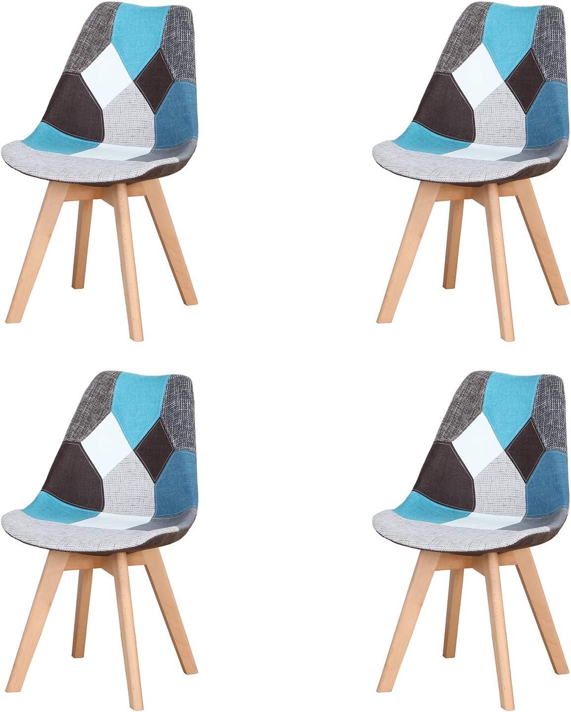 Injoy Life - Juego de 4 sillas de comedor modernas con patas de madera maciza y asiento acolchado suave para cocina, salón, oficina, color azul