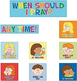 Fun Express - Bulletin Board Cutouts - Kids Pray - Educational - Classroom Decorations - Bulletin Board Decor - 9 Pieces