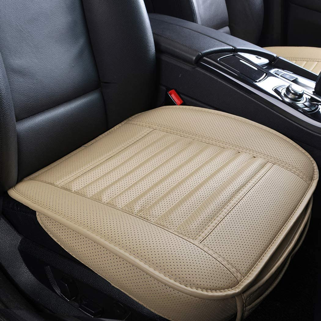 /… Sunny color 2pc Filling Bamboo Charcoal Edge Wrapping Car Front Seat Cushion Cover Pad Mat for Auto with PU Leather Gray
