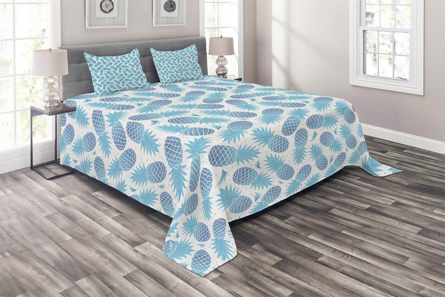 In stock Ambesonne Pineapple Coverlet Foliage Silhouettes Fruits Exotic Topics on TV