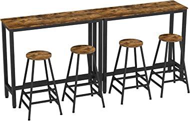 """IRONCK 2-Piece Pub Bar Table Set, (47.2''L 15.7"""" W 39.4"""" H) Industrial High Top Table with Bar Stool Chair, MDF Board and Metal, Vintage Brown"""