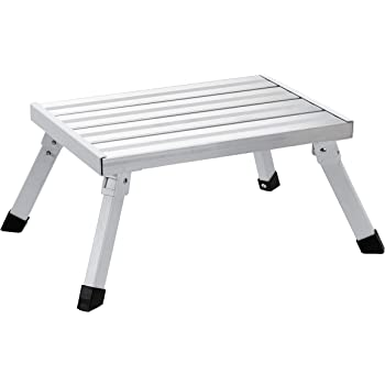 AmazonBasics Step Stool - 1-Step, Steel and Aluminum, 200-Pound Capacity, Silver and White