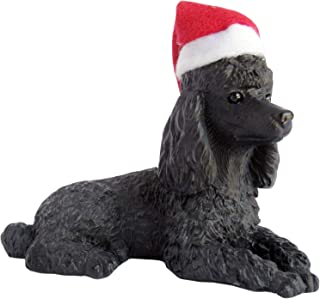 Sandicast Black Poodle with Santa Hat Christmas Ornament