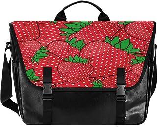 Bolso de lona para hombre y mujer, diseño retro de fresa, color rojo