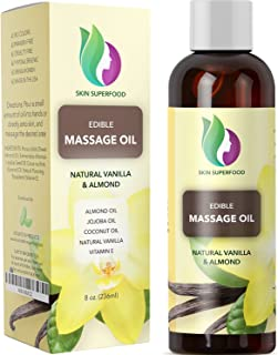 Erotic Massage Oil with Vanilla Bean Extract - Massage Therapy Oils for Sensual Massage with Pure Jojoba Sweet Almond and Coconut Oil for Anti Aging Skin Care - Deep Tissue Massage for Sore Muscles