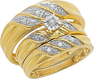 Dazzlingrock Collection 0.40 Carat (ctw) Round Diamond Men & Women's Engagement Ring Trio Bridal Set