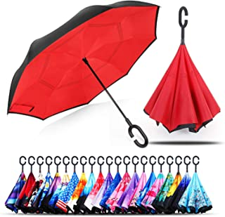 Owen Kyne Windproof Double Layer Folding Inverted Umbrella, Self Stand Upside-Down Rain Protection Car Reverse Umbrellas w...