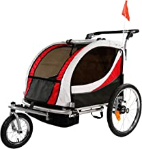 Clevr Deluxe 3-in-1 Double 2 Seat Bicycle Bike Trailer Jogger Stroller for Kids Children | Foldable Collapsible w/Pivot Front Wheel
