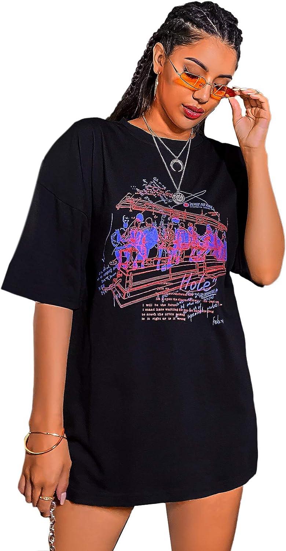 SheIn Women's Figure Novelty Graphic Oversized Half Sleeve T Shirt Tunic Tops