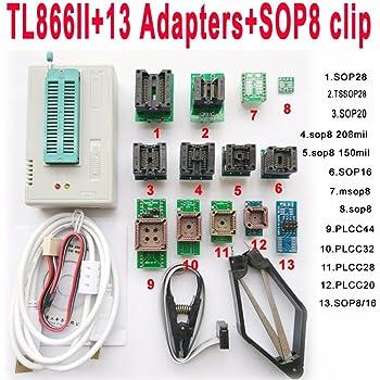 TL866II Plus USB Programmer 13 Adapter Socket SOP8 Clip 1.8V nand Flash 24 93 25 mcu Bios EPROM AVR eprom