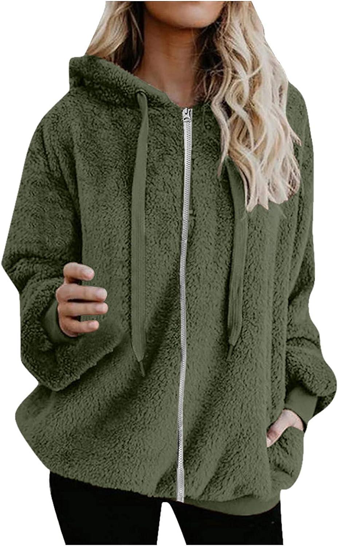 Aritone Fashion Jacket Coat Womens Warm Faux Coat Jacket Winter Warm Zipper Solid Long Sleeve Outerwear