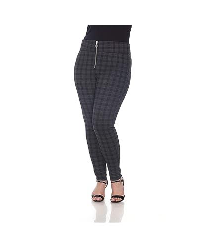 fb96f75949902 Blue Sunset · Women s Plus Size Grey Plaid Zipper Fly Ponte Pant Full  Length Leggings