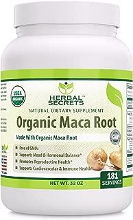 Herbal Secrets USDA Certified Organic Maca Root Powder- 32 oz (Non-GMO)- Supports Healthy Mood, Hormonal Balance, Cardiovascular Health & Immune Health*