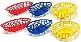 Reusable Plastic Deli Bread Basket | Food Baskets for Restaurants, Parties | 3 Colors (24 Pack)