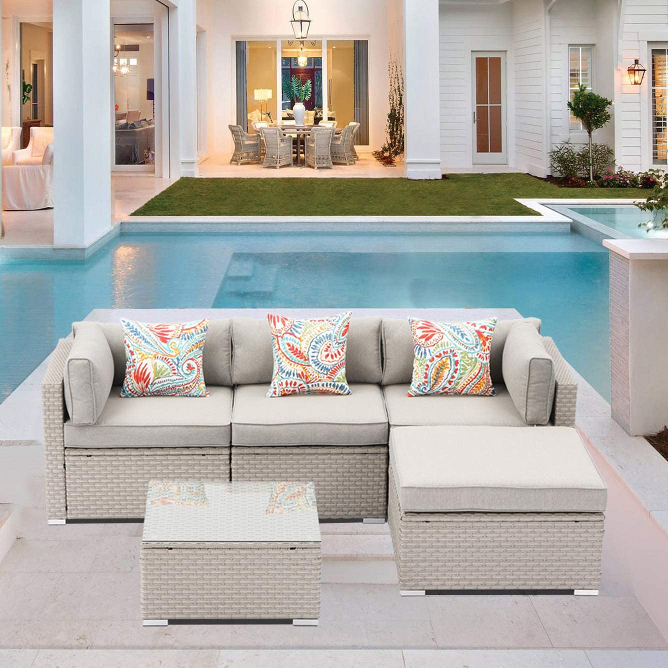 SUNBURY 5-Piece Ranking TOP18 Outdoor Sectional Wicker Sofa in Pearl Gray Max 87% OFF 3 w