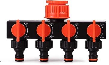 Bradas ECO-PWB3033 4-voudige verdeler voor wateraansluiting, zwart, 10x5x5 cm