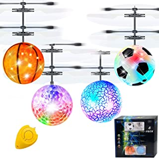 AMENON 4 Pack RC Flying Ball Toy Infrared Induction RC Helicopter Toy for Kids Boys Girls Rechargeable Light Up UFO Ball D...