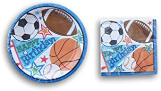 Sports Themed Party Supply Kit - Beverage Napkins and Dessert Plates
