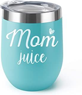 Mom Juice Supkiir 12 oz Wine Tumbler, Double Wall Vacuum Insulated Wine Glasses with Lid, Stainless Steel Cup for Wine,Coffee,Cocktails Perfect Mother's Day, Christmas Gift