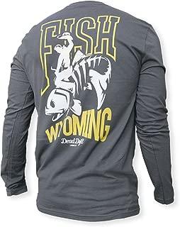 Fly Bucking Trout, Gray Long Sleeve Fly Fishing Shirt