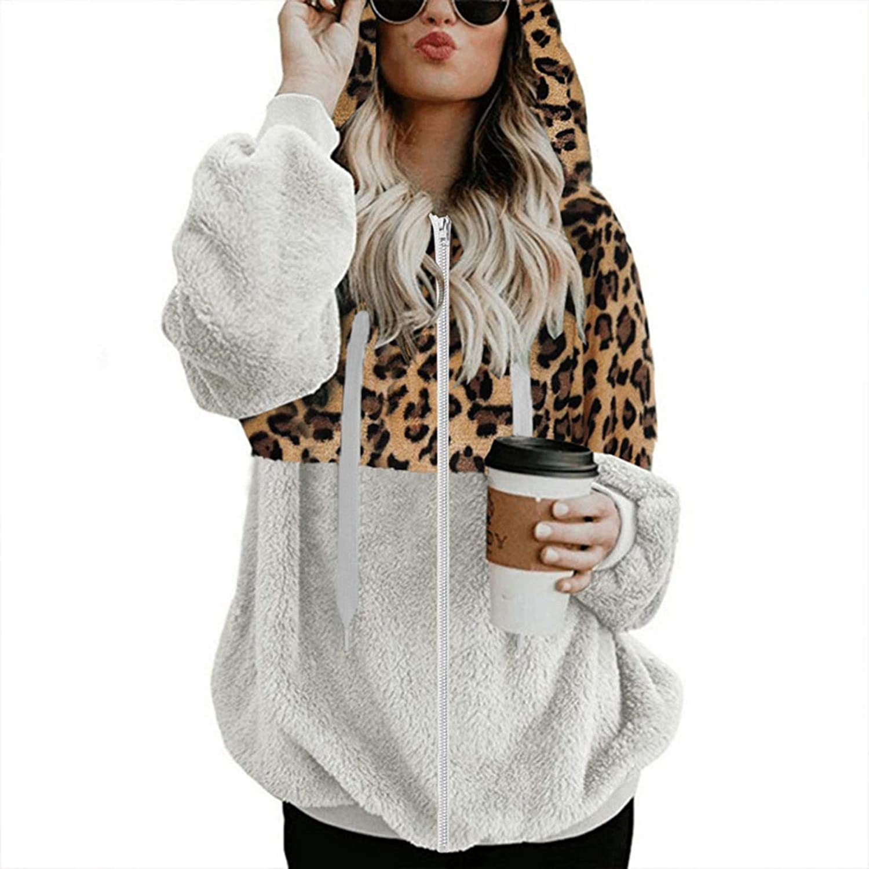 TICOOK Damen Winter Warm Fleece Jacke Kapuze Sweatshirt Reißverschlusstaschen Farbblock Mantel Plus Size Outwear Weiß-9