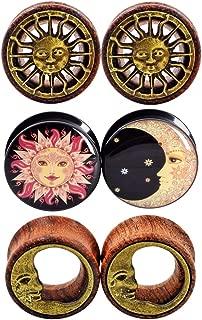 6pcs 0g-3/4 in Sun Moon Organic Wood & Acrylic Screw Ear Tunnels Plugs Expander Set