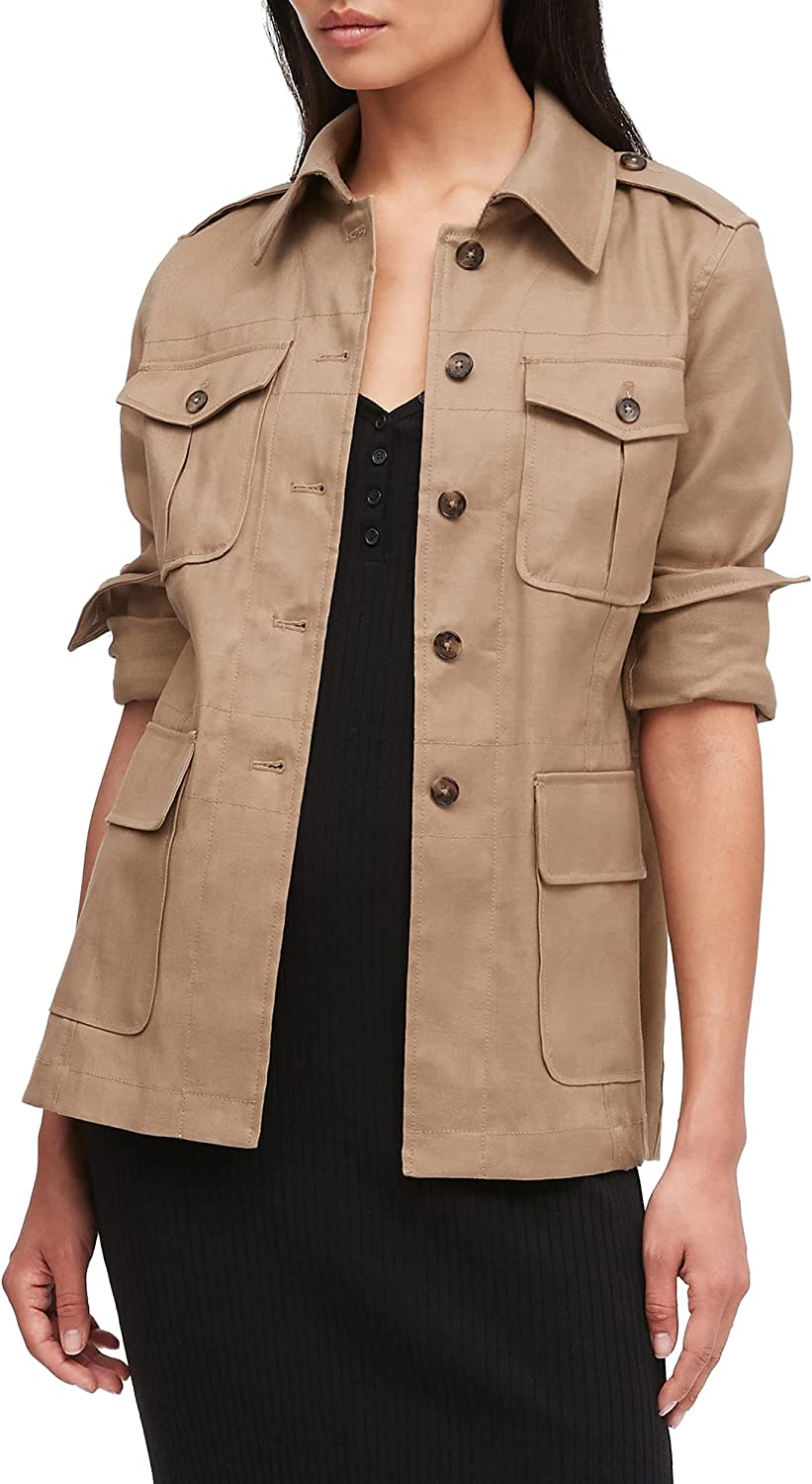 Women's Classic Casual Jacket Four Pocket Soft Shell Trench Coat Fashion Transitional Jacket