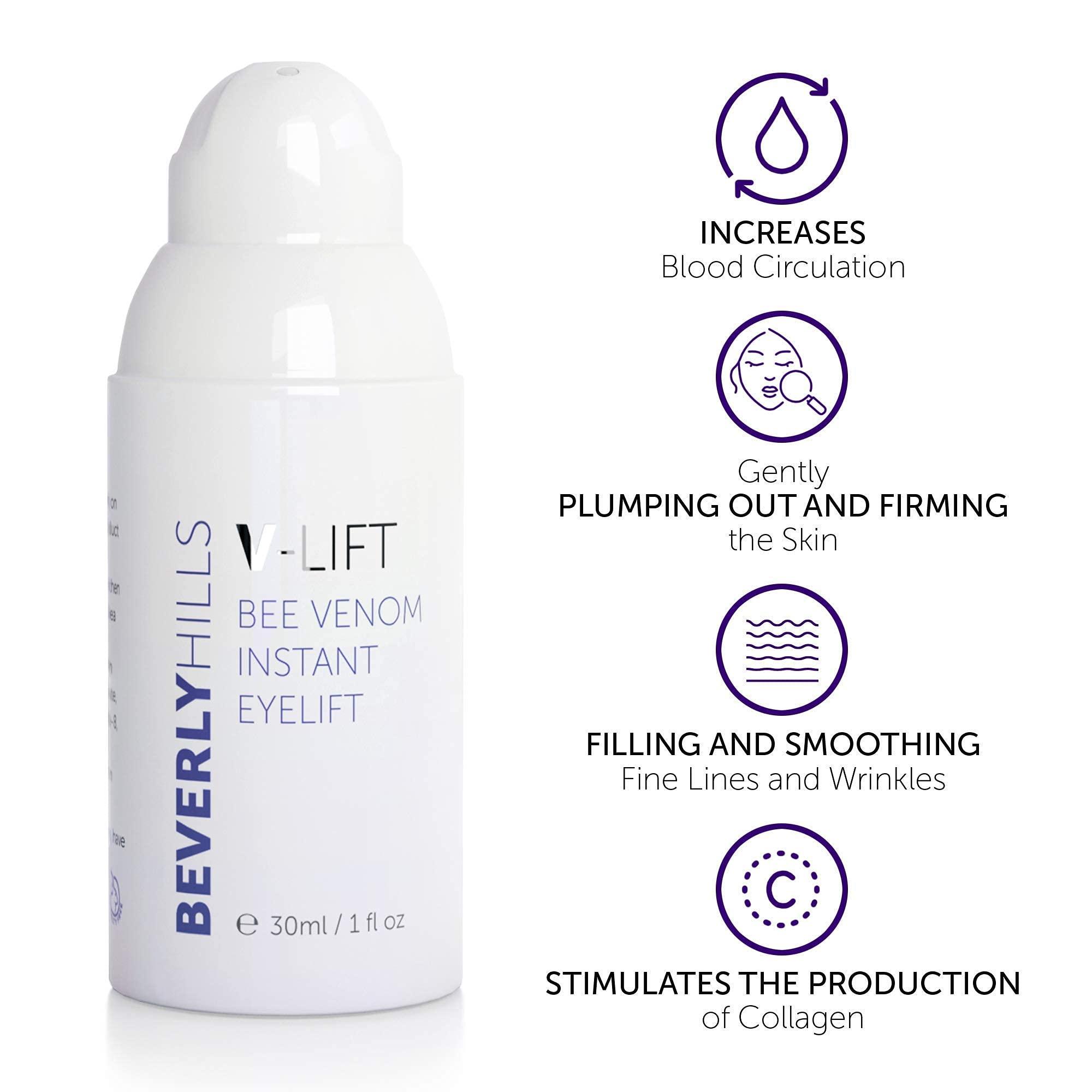 BEVERLY HILLS V-Lift Instant Eye Lift and Eye Tuck Bee Venom Serum for Treating Puffy Eyes, Dark Circles, and Wrinkles