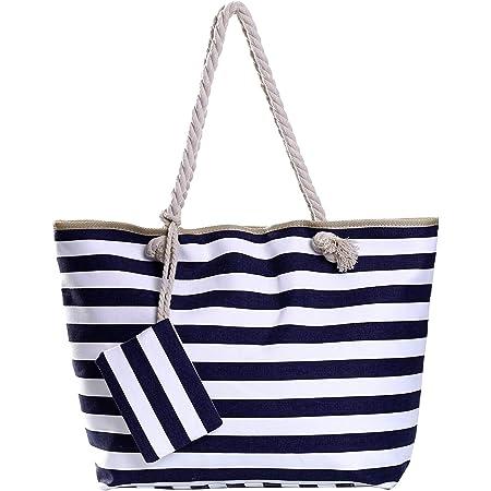 Große Strandtasche mit Reißverschluss 58 x 38 x 18 cm gestreift dunkelblau weiß Shopper Schultertasche