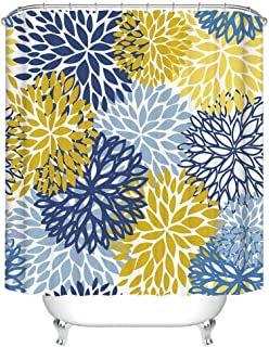 Fangkun Shower Curtain for Bathroom - Waterproof Polyester Fabric Autumn Chrysanthemum Pattern Bath Curtains Set - 12pcs Shower Hooks - 72 x 72 inches - Blue Yellow and Navy